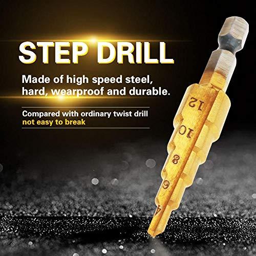 ステップドリルビット、1個の高速度鋼ステップコーンドリルビット穴カッター六角シャンクチタンメッキドリル、耐摩耗性と耐久性(4-12mm)