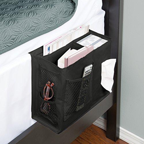 Richards Homewares Grey Gearbox 6 Pocket Bedside Storage Mattress Book Remote (Caddy, Black) - bedroomdesign.us