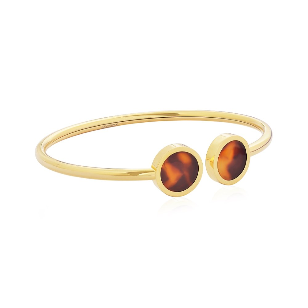 3a8cd94b8f8 Amazon.com: Edforce Stainless Steel Women's Stackable 18k Gold Plated and  Tortoise Accent Cuff Bangle Bracelet Stacking: Jewelry