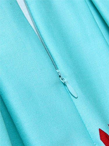 Une pliss Jupe Bleu Womens Taille Ligne Floral Clair imprim GAESHOW Haute YX7TRxFqx