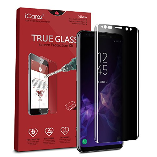 iCarez [Full Coverage Privacy Glass ] Screen Protector for Samsung Galaxy S9 Easy Install [ 1-Pack 0.33MM 9H 2.5D] Anti Spy