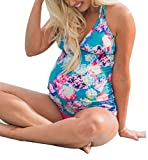 JINTING Tie Dye Maternity Swim Suit Floral Halter Two Piece Maternity Tankini Swimsuit Size S (Blue)
