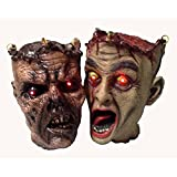 Ghastly Life Size Zombie Heads with Demonic LED Red Eyes to Hang from Skull Hooks - Set of Two