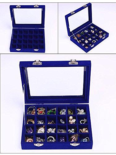 Meshela 24 Fäche Schmuckkasten Demonstrationkasten für Halskette Schmucklade Ringbox Schmuckbox Schmuckschatulle Schmuckaufwahrung - Blau -