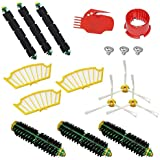 Anboo Replacement Parts for iRobot Roomba 500 Series 510 530 535 540 560 570 580 610 Vacuum Cleaner 3pcs Bristle Brush+3pcs Flexible Beater+3 Side Brushes 6-armed+ 3pcs Yellow Filters+2 Clean Tools