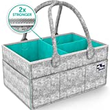 Baby : Baby Diaper Caddy Organizer - Portable Large diaper caddy tote - Car Travel Bag - Nursery diaper caddy Storage Bin - Gray Felt Basket Infant Girl Boy - Cute Gift for Kids - Newborn Registry Must Have