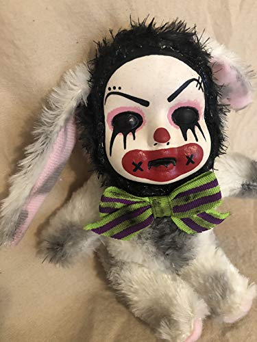 OOAK White Clown Bunny Rabbit Creepy Horror Doll Art Christie Creepydolls (Porcelain Bunny Doll)