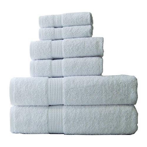 ELEGANCE SPA 100% Cotton Super Absorbent 6 Piece Towel Set, Medium, White, 6 by ELEGANCE SPA