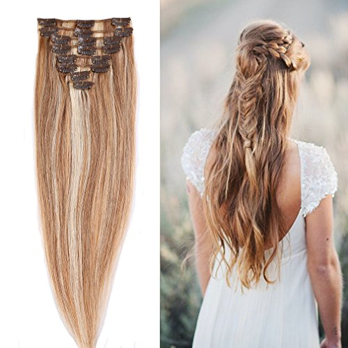 "100% Real Remy Clip in Hair Extensions 16-22inch Grade AAAAA Natural Hair Full Head Standard Weft 8 Pieces 18 Clips(20"" / 20 inch 70g,#18/613 light Ash Blonde with Bleach Blonde)"