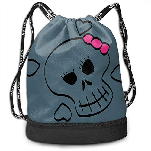 VRLGWDHD Skull Girl Unisex 3D Digital Printed Sport Gym Drawstring Bags Makeup Bag with Straps for Travel -