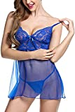 HuoGuo Dress Babydoll Hollow Lace Lingerie Set with G-stiing Blue#1XX-Large