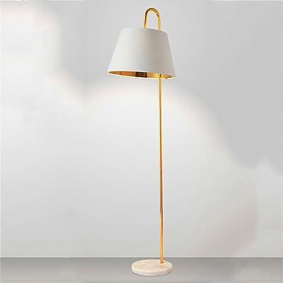 Éclairage d'intérieur Lampadaire en fer créative Easy Fishing Light Pédalier en marbre naturel clair (Color : Blanc)