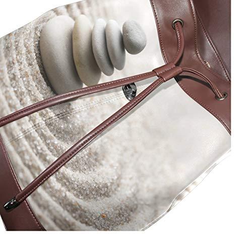 Zen Stones ryggsäck handväska mode PU-läder ryggsäck ledig ryggsäck för kvinnor