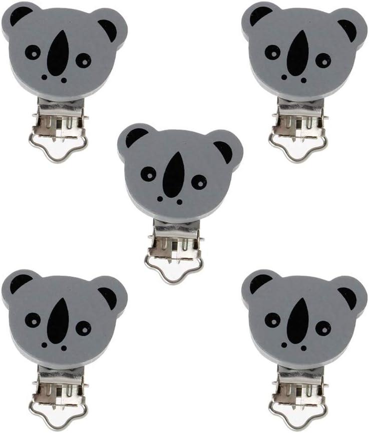 Rose ZOOMY 5 pi/èces//lot en Bois b/éb/é Enfants Porte-t/étine Clip Nourrisson Animal Koala Fermoir Mamelon