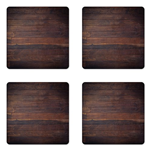 Coaster Chocolate - Ambesonne Chocolate Coaster Set of 4, Aged Weathered Dark Timber Oak Wooden Planks Floor Image Country Life Carpentry, Square Hardboard Gloss Coasters for Drinks, Standard Size, Dark Brown