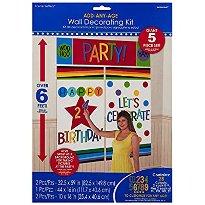 Amscan 671836 Rainbow Birthday Add-Any-Age Wall Decorating Kit, One Size, Multicolor: Toys & Games
