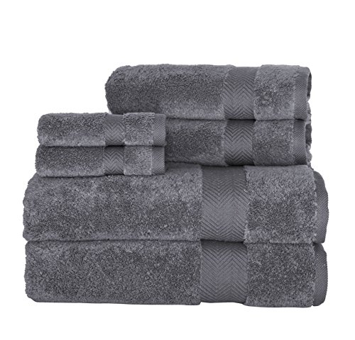 Yarn Light Fancy (6 Piece Grey Border Solid Color Towel Set With 27 X 55 Inches Bath Towels, Light Grey Solid Color Plush Zero Twist Yarn Weave Soft Thick Absorbent Fancy Elegant Quick Dry Towels, Turkish Cotton)