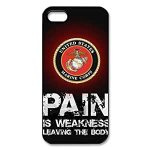 USMC Marine Corps Pain Is Weakness Leaving The Body iPhone 5 5S Best Durable Cover Case Christmas Gift Idea