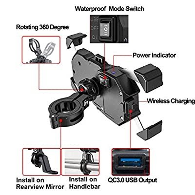 iMESTOU Waterproof Motorcycle Wireless 15W Qi/USB Quick Charger 3.0 Phone Holder 2 in 1 Mount on 22-32mm Handlebar or Rear-view Mirror Pole Fast Charging for 3.5-6.5 inch Cellphones: Automotive