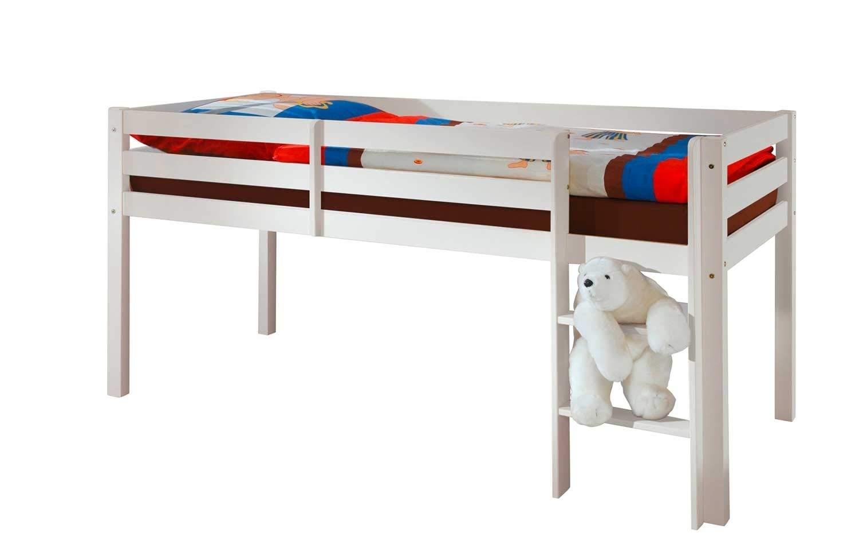 Kinderbett Halbhochbett Spielbett Kenny | Kiefernholz | massiv | Weiß | 90x200 cm | mit Leiter