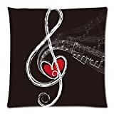 Yestore Custom Cotton Music Note 18x18 Inch Pillow Cushion Cases