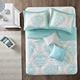 Hemau Senna Comforter Set Full/Queen Size - Aqua Blue/Gray, Damask – 5 Piece Bed Sets – All Season Ultra Soft Microfiber Teen Bedding - Great for Guest Room and Girls Bedroom | Style 503195127