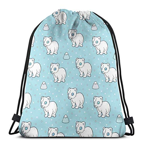 Babies Polar Hemp - Cuddly Baby Polar Bear_13355 3D Print Drawstring Backpack Rucksack Shoulder Bags Gym Bag for Adult 16.9