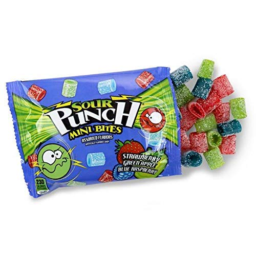 Sour Punch Mini Bites, Assorted Flavor Sour Chewy Candies, 18 Count