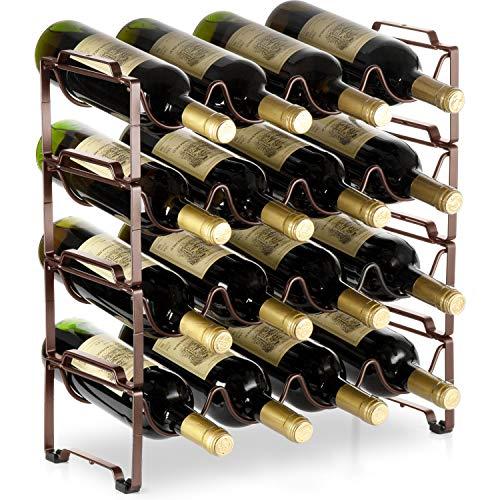 Bextsware 4 Tiers Stackable Metal Wine Rack, 16 Bottles Freestanding Holder Organizer Storage for Kitchen, Bar, Pantry, Wine Cellar, Basement, Countertop, Cabinet - Bronze (Racks Wine Simple)