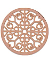 MS Koins Stainless Steel Coin Filigree Design Rose Gold Plated Fits Our Coin Locket System, 30mm Diameter