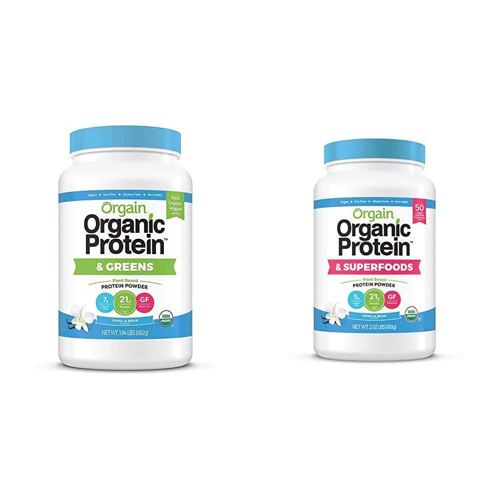 Orgain Organic Plant Based Protein & Greens Powder, Vanilla Bean - 1.94 Pound & Organic Plant Based Protein + Superfoods Powder, Vanilla Bean - Vegan, Non Dairy, Lactose Free, No Sugar Added, 2.02 lb