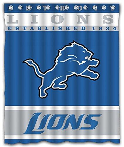 Sonaby Custom Detroit Lions Waterproof Fabric Shower Curtain For Bathroom Decoration (60x72 Inches) (Curtain Shower Lions Detroit)