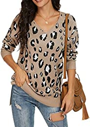 GRECERELLE Women's V-Neck Long Sleeve Side Split Loose Casual Knit Pullover Sweater Bl