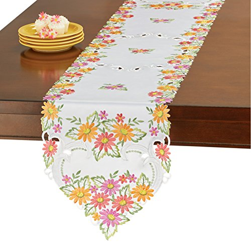 (Collections Etc Colorful Daisy Floral Embroidered Table Linen Overlays Spring/Summer Table Decoration, Runner)