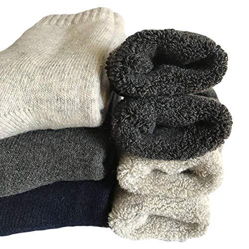 Mens Heavy Thick Wool Socks - Soft Warm Comfort Winter Crew Socks (Pack of 3/5),Multicolor,One Size 7-12 (Mens Three Quarter Length Coat)