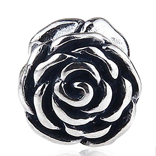Rose Charm 925 Sterling Silver Flower Charm Love Charm Valentine Charm for DIY Charms Bracelet - Flowers Charms Rose