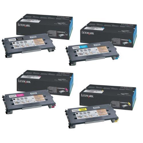 (Lexmark Part# C500H2CG. C500H2KG. C500H2MG. C500H2YG OEM High Yield Toner Cartridge Set)