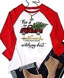 Enmeng This is My Hallmark Christmas Movie t Shirt Long Sleeve Christmas Sweatshirt (L, Red)