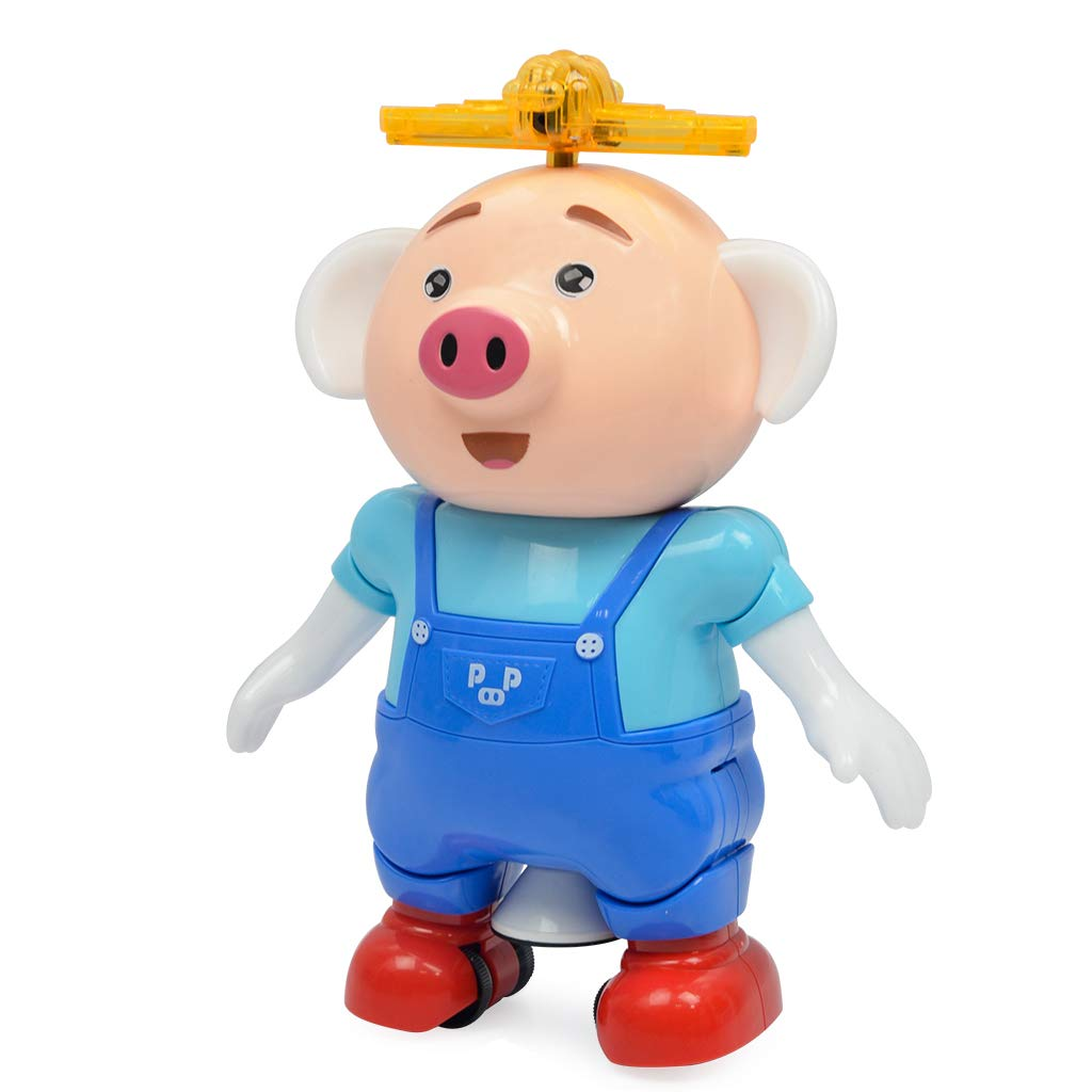 FLYBOO Dancing Pig-Dancing Electric Musical Toys with Colorful Flashing Lights 360 Degree Stunt Rotating and Side Steps Electronic Toy Gift for Kids, Boys and Girls