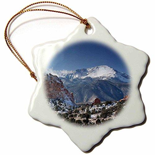 3dRose orn_38673_1 Colorado Mountains Pikes Peak Snowflake Decorative Hanging Ornament, Porcelain, 3-Inch