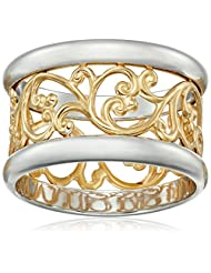 14k Gold over Sterling Silver Filigree Band Ring