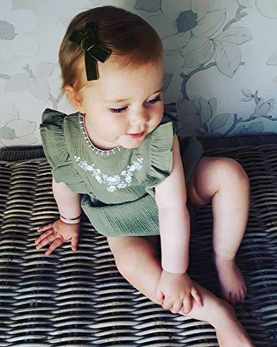 Infant Toddler Baby Girl Ruffle Sleeveless Floral Romper Botton Down Shirt Bodysuit
