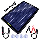 ECO-WORTHY 12 Volts 10 Watts Portable Power Solar Panel Backup Solar Trickle Charger for Car Boat Automotive RV with Alligator Clip Adapter (10W Portable Solar Panel)