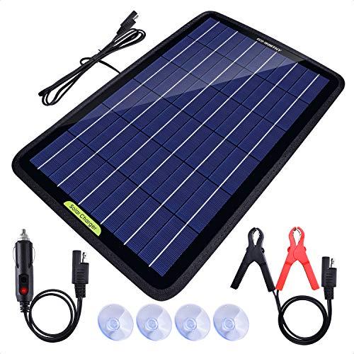 ECO-WORTHY 12 voltios 10 vatios panel solar portátil cargador de batería para coche barco con adaptador de pinza de…