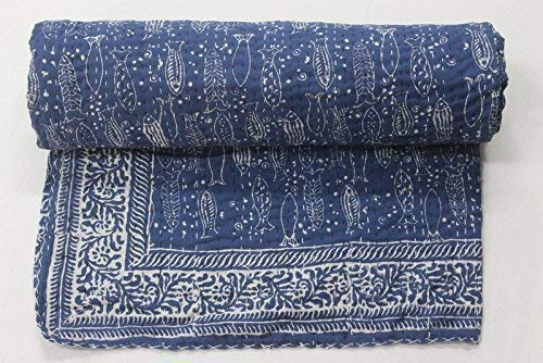 74b283633eef Natural Blue Indigo Hand Block Print Indian Cotton Kantha Quilt ...