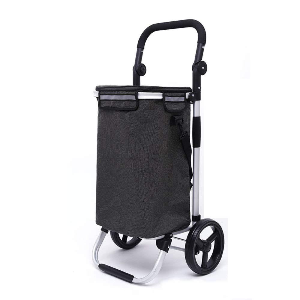 トロリー アルミ合金 ショッピング用 8インチホイール 折りたたみ式 内部アイスパックデザイン 10472 B07GK81JY3 Blackb