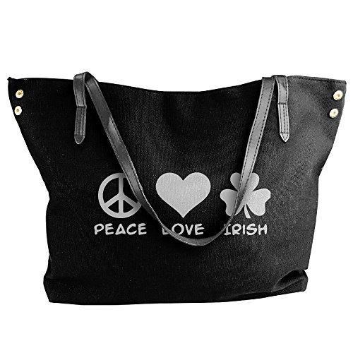 Shoulder Tote Large Canvas Bag Peace Irish Women's Black Hobo Love Handbag Eq1twgpx6