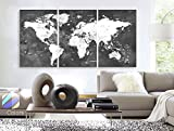 Original by BoxColors LARGE 30''x 60'' 3 Panels 30''x20'' Ea Art Canvas Print Watercolor Map World countries cities Push Pin Travel Wall color Black White Gray decor Home interior (framed 1.5'' depth)