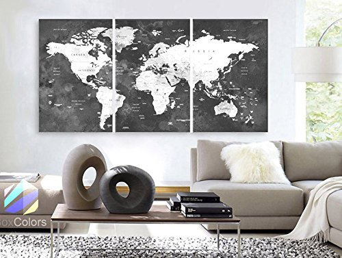 Original by BoxColors LARGE 30''x 60'' 3 Panels 30''x20'' Ea Art Canvas Print Watercolor Map World countries cities Push Pin Travel Wall color Black White Gray decor Home interior (framed 1.5'' depth) by BoxColors