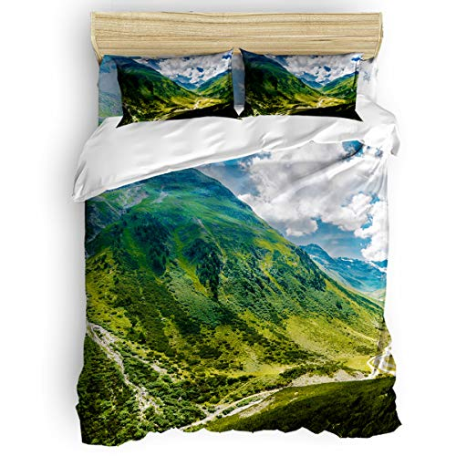 - YEHO Art Gallery Lightweight Beding Sets 4 Pcs Duvet Cover Set,Alpine Scenery Kids Bed Sheet Set for Women Men,Include 1 Comforter Cover 1 Bed Sheets 2 Pillow Cases Queen Size